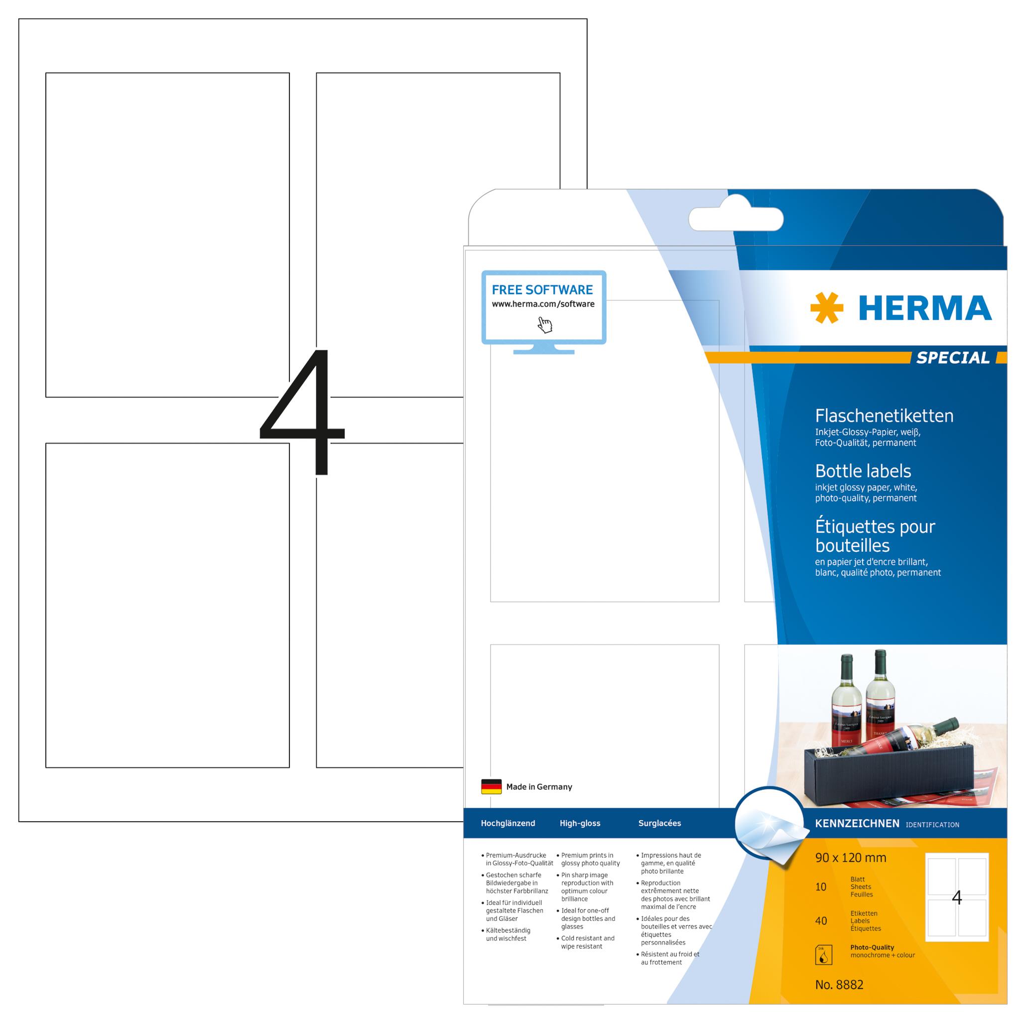 Flaschenetiketten A4 - HERMA 8882 - 90x120 mm 40 St.